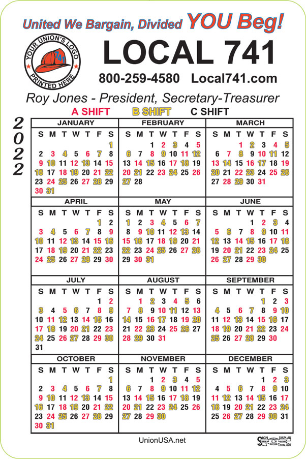 Union Magnetic Calendars, Union Made and Union Printed.  Goldstein Associates UnionUSA.net