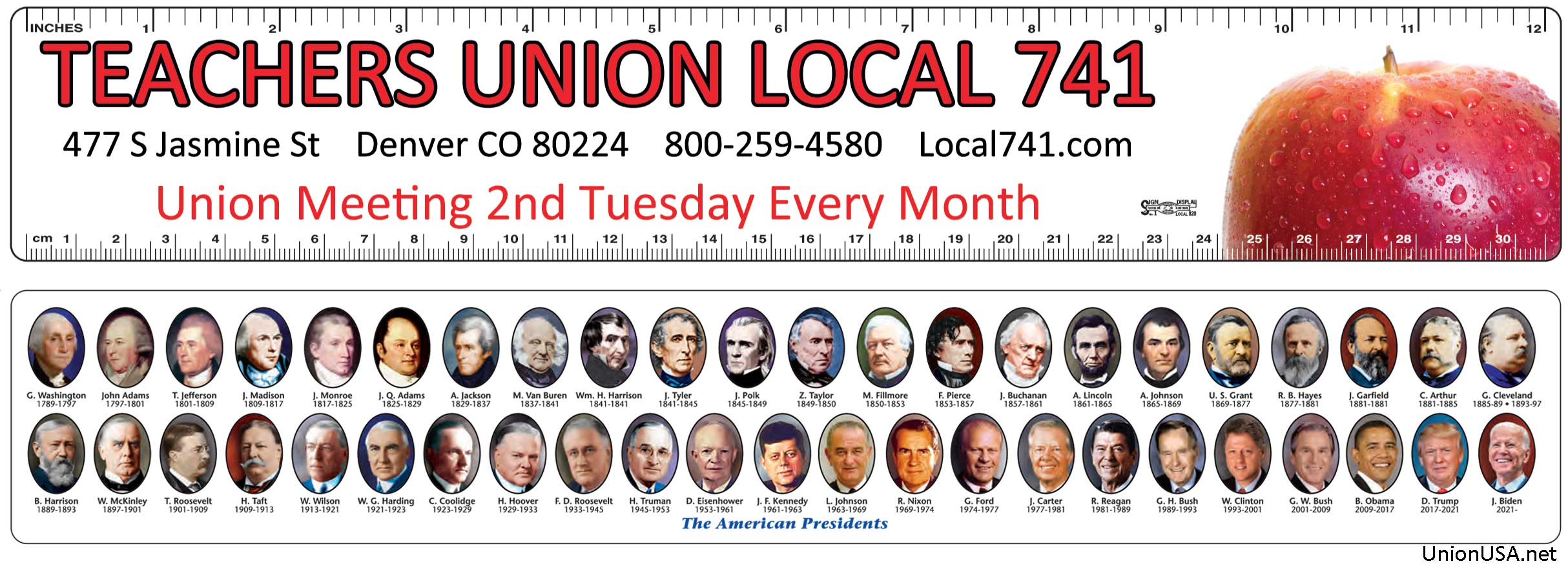 Union Presidential Rulers, Union Made & Union Printed